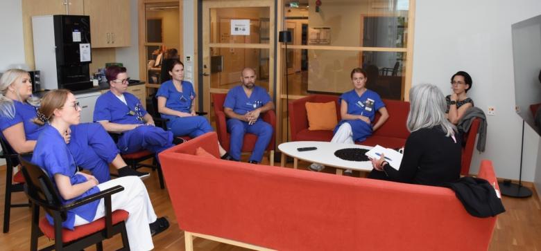 Sjuksköterskor på ortopediavdelningen, som blev covidavdelning, på Säs i Borås.